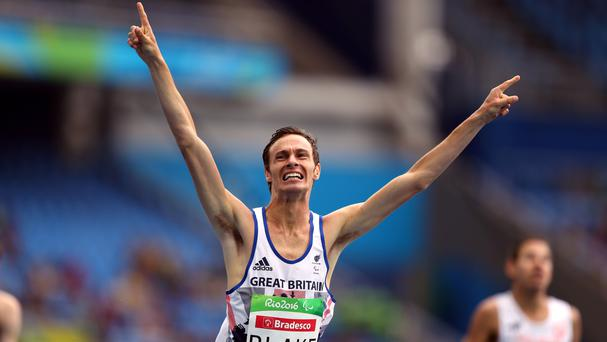 Great Britain's Paul Blake celebrates winning the men's 400m T36 final in Rio