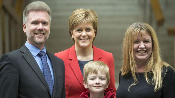 First Minister Nicola Sturgeon meeting Gregg and Kathryn Brain and their son Lachlan at the Scottish Parliament