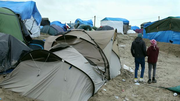 Refugee children at the Jungle camp in Calais