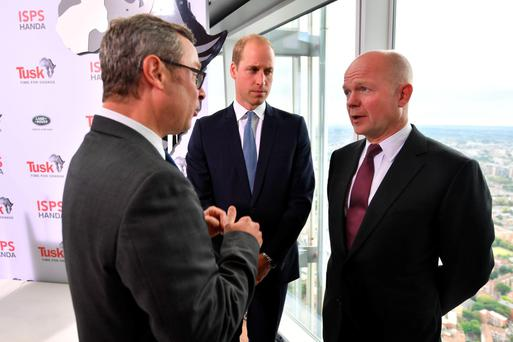 The Duke of Cambridge talks with chef Hugh Fearnley-Whittingstall (left) and former leader of the House of Commons William Hague at the Time For Change event
