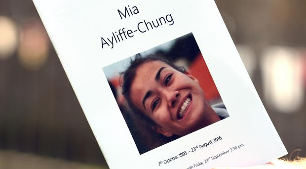 An Order of Service is held outside St Mary's Church in Wirksworth, Derbyshire, ahead of a memorial service for Mia Ayliffe-Chung