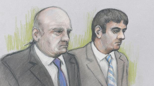 Court artist sketch of Alan Smith (left) and Fake Sheikh Mazher Mahmood, who are accused of conspiring to pervert the course of justice in the case of pop star Tulisa Contostavlos (Elizabeth Cook/PA)