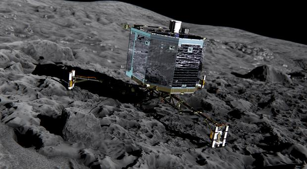 An artist's impression of the Rosetta's lander Philae on the comet (European Space Agency)