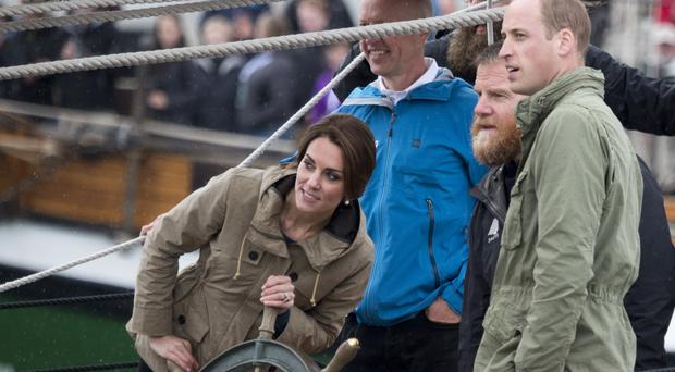 The Duchess of Cambridge steers the tall ship, Pacific Grace, at Victoria Inner Harbour