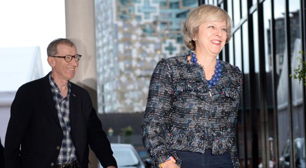Prime Minister Theresa May and husband Philip arrive at the hotel in Birmingham ahead of the Conservative party conference