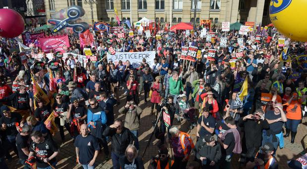 Trade unionists at an anti-austerity demonstration outside the Conservative Party Conference in Birmingham