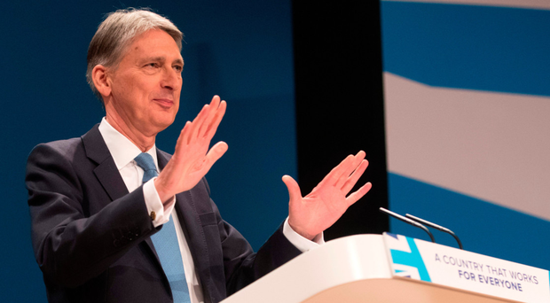 Chancellor of the Exchequer Philip Hammond at the podium