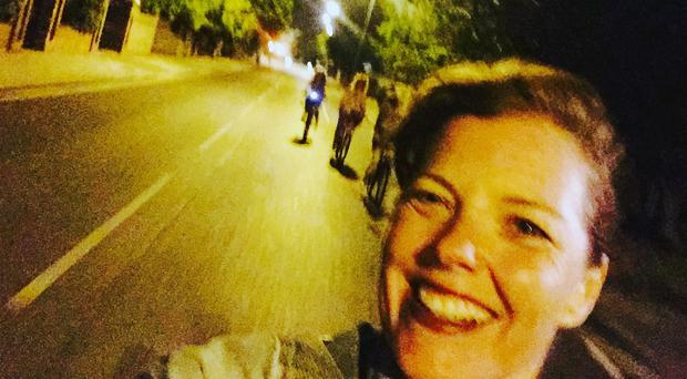 Carmen Greenway taking a selfie whilst cycling home from dinner, moments before she hit a bumpy patch of road and lost control