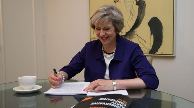 Prime Minister Theresa May in her hotel room in Birmingham as she prepared her conference speech.
