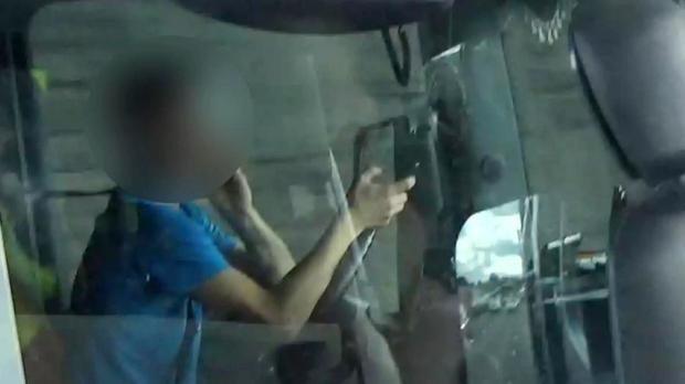 A photograph taken from a HGV cab used by police forces to film unsafe behaviour by drivers (Highways England/PA)