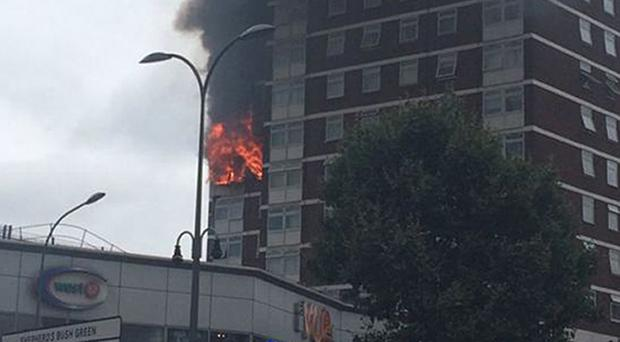 The fire at Bush Court, Shepherd's Bush, took 120 firefighters to bring under control (Liam Twomey/PA)