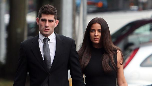 Footballer Ched Evans with partner Natasha Massey arriving at Cardiff Crown Court