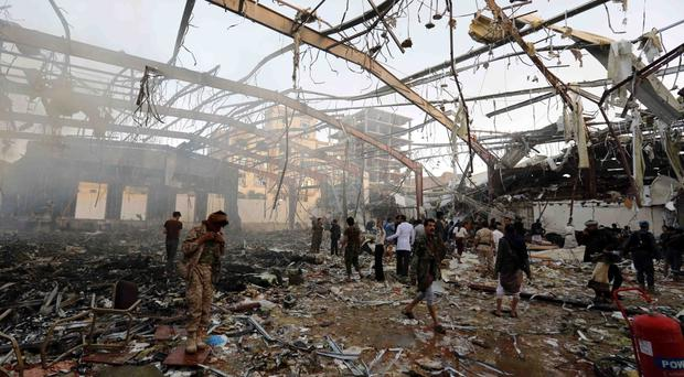 An air strike killed more than 140 people attending a funeral in Sanaa, Yemen