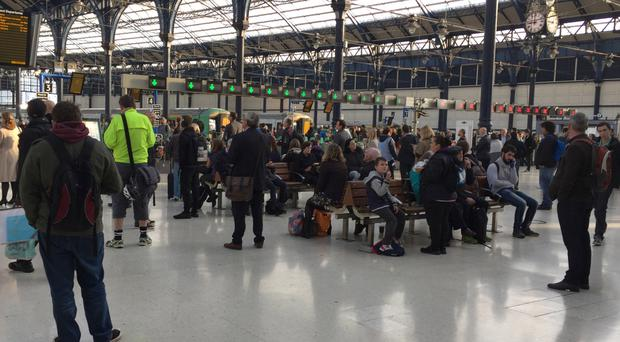 Passengers on the concourse at Brighton Railway Station