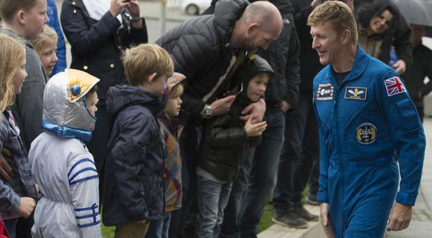 British astronaut Tim Peake meets children at the Glasgow Science Centre