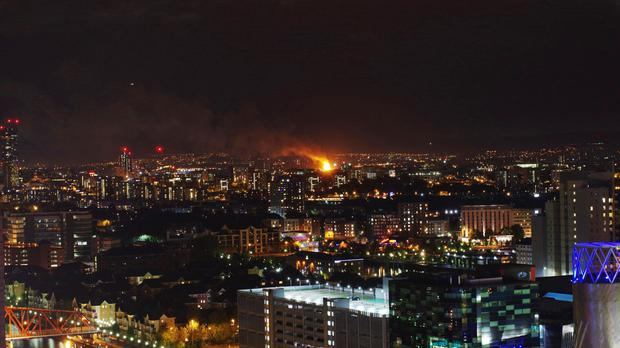 A fire tore through what appears to be a block of partially built flats in Gorton, Manchester