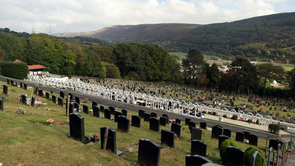 The graves of the victims of the Aberfan disaster