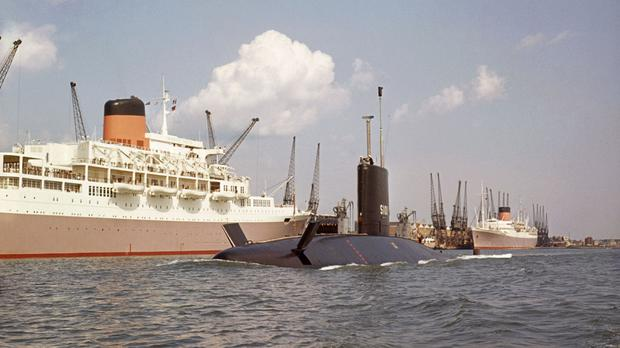 Britain's first nuclear-powered submarine HMS Dreadnought during a visit to Southampton
