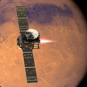 The Mars probe in orbit