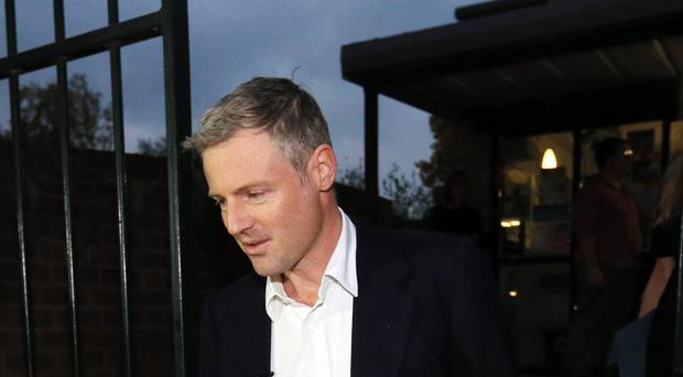 Zac Goldsmith arriving at Barnes Primary School in south London, after he quit as a Conservative MP
