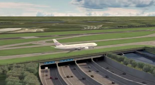 Image showing how the airport's third runway would pass over a widened M25 (Heathrow Airport/PA)