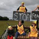 Anti-fracking protesters at a camp near Little Plumpton, Preston