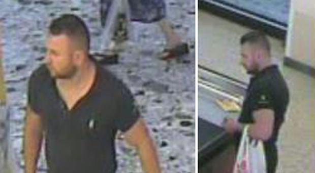Handout CCTV image dated 7/8/2016 issued by Thames Valley Police of a man wanted in connection with a burglary at The Piano and Accordion Shop in London Road, Sunningdale, Berkshire where accordions with a value of £130,000 have been stolen.