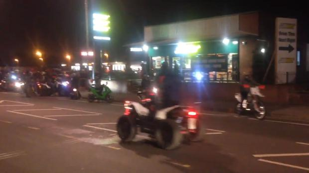 Police closed the road after a large group of bikers and quad bikers caused chaos on Kirkstall Road in Leeds. (Jack Hurley @loudribs/PA)