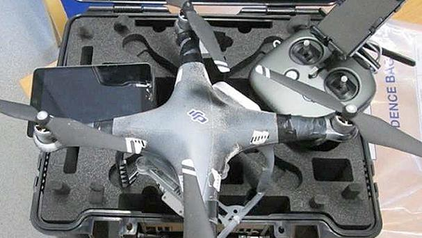A drone which was used to fly drugs into prisons in Kent and Hertfordshire earlier this year. Ministers are considering using eagles to to take down unmanned aircraft being used by smugglers.