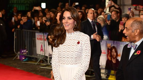 The Duchess of Cambridge attending the world premiere of A Street Cat Named Bob at Curzon Mayfair