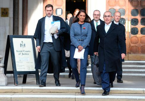 Gina Miller, lead claimant in the Brexit challenge, with her legal team outside High Court