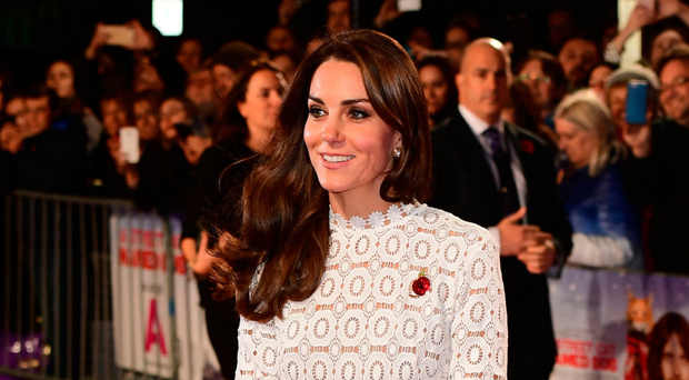 The Duchess of Cambridge attends the world premiere of A Street Cat Named Bob last night in London