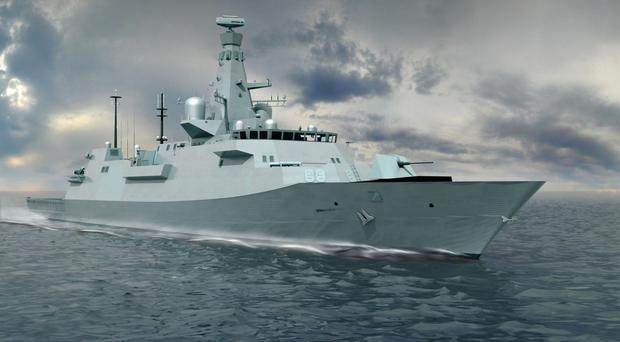 An illustration of the latest design for the Type 26 global combat ship (BAE Systems/PA Wire)