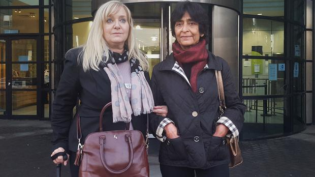 Victims Janet Morsy and Charandasi Chandiramani outside Kingston Crown Court