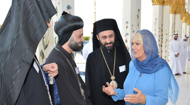 The Duchess of Cornwall talks to bishops as she visits Sheikh Zayed Grand Mosque in Abu Dhabi