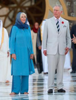 Camilla, Duchess of Cornwall, and Charles,the Prince of Wales, visit the Grand Mosque on the first day of a Royal tour of the United Arab Emirates
