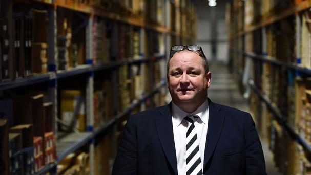 Sports Direct boss Mike Ashley at the company's warehouse in Shirebrook, Derbyshire