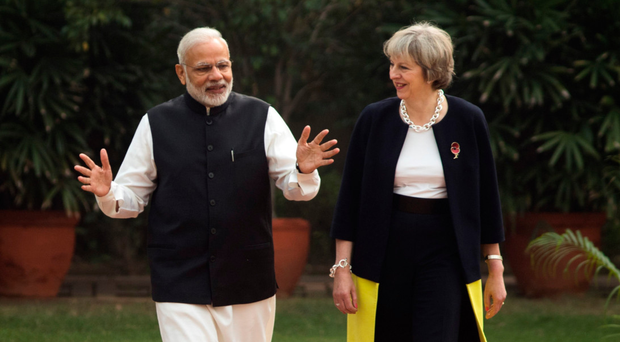 Prime Minister Theresa May and Indian Prime Minister Narendra Modi at Hyderabad House in New Delhi yesterday