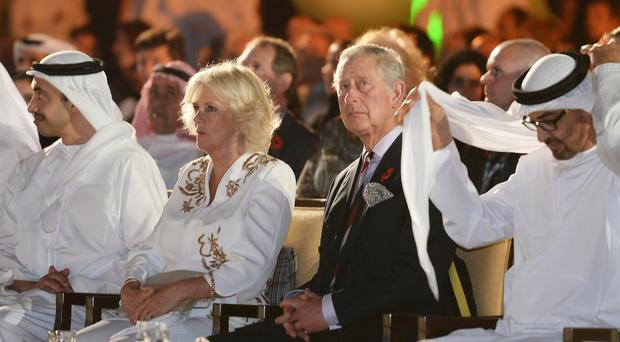 The Prince of Wales and the Duchess of Cornwall at the Al Jahili fort in Al Ain, United Arab Emirates, earlier in their tour