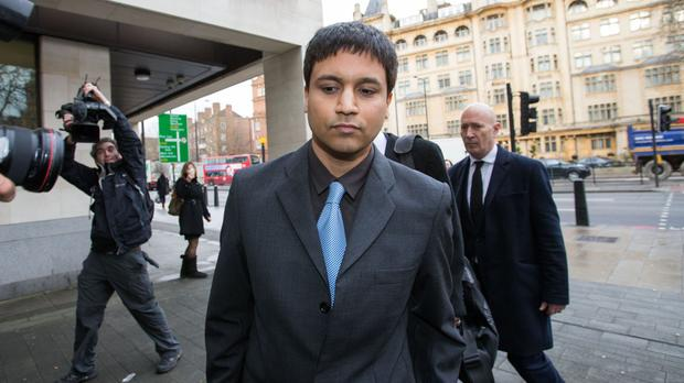 Trader Navinder Singh Sarao outside Westminster Magistrates' Court, London, before his extradition to the US