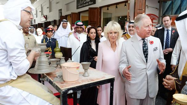 The Prince of Wales and Duchess of Cornwall tour the local market in Manama, Bahrain