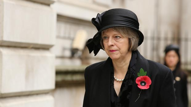 Theresa May, when home secretary, at last year's Cenotaph ceremony