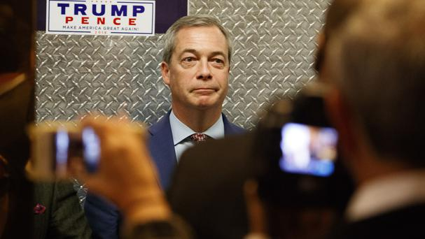 U.K. Independence Party leader Nigel Farage gets on an elevator at Trump Tower, Saturday, Nov. 12, 2016, in New York. (AP Photo/ Evan Vucci)