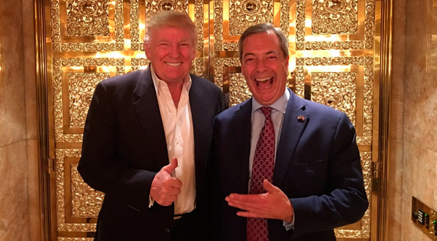 Donald Trump with Ukip interim leader Nigel Farage in New York