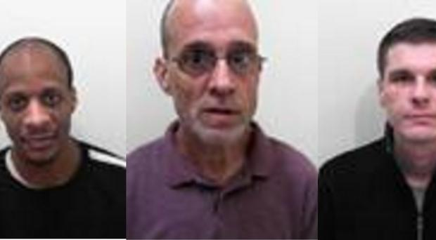 (l-r) Admi Headley, 34, Paul Bromwich, 54 and Wayne Maycock, 33, who absconded from HMP Leyhil, south Gloucestershire, on Nov 13.