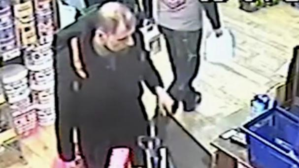 CCTV of Stefano Brizzi purchasing items at the Leyland Store in Southwark Street, London