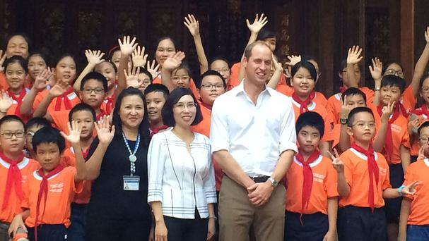 William welcomed to Hong Ha primary school (Humane Society International/PA)