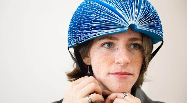 Inventor Isis Shiffer wearing her EcoHelmet (Dyson/PA)