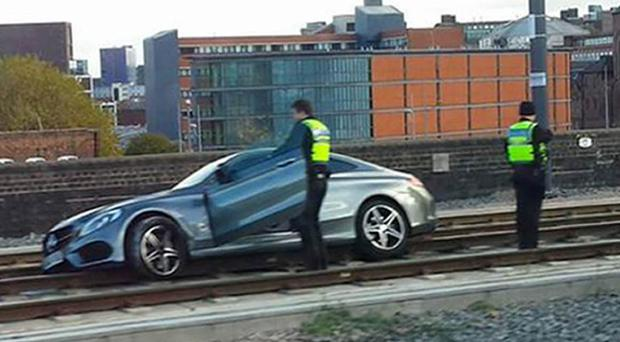 Maurice Cooney admitted drink-driving after getting his new Mercedes stranded on the Midland Metro line in Birmingham city centre