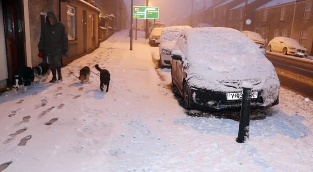 Winter returned to Northern Ireland with a vengeance last night, as snowdrifts caused traffic disruption across the north coast. File image